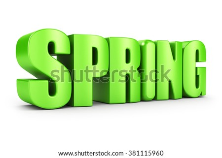 3D rendered spring word isolated in white background - stock photo