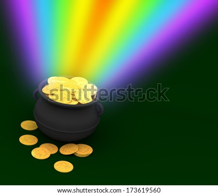3d: Rendered St. Patrick's Day Treasure with Rainbow - stock photo