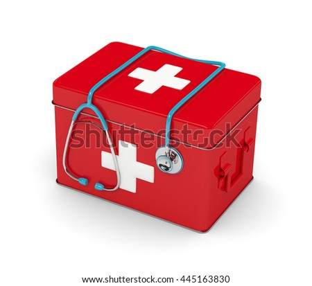 3d rendered stethoscope with first aid kit isolated over white background