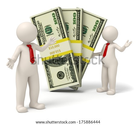 3d rendered successful business people presenting packs on money - stock photo