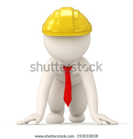 3d rendered successful constructor business man at start of competition for success - stock photo