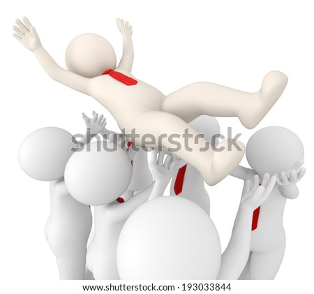 3d rendered successful team leader tossed in air by his team - Team success concept - stock photo