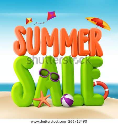 3D Rendered Summer Sale Text Title for Promotion in Beach Sea Shore with Flying Kites, Colorful Umbrella, Sunglasses, Ball and Starfish Illustration - stock photo