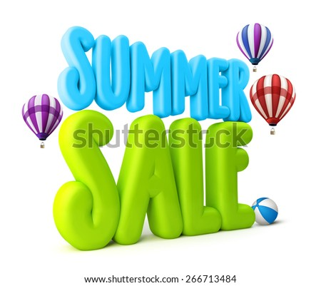 3D Rendered Summer Sale Text Title for Promotion in White Background with Flying Colorful Balloons and Ball Isolated with Clipping Path - stock photo