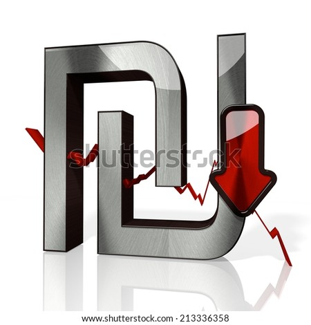 3d rendered symbol of Shekel with down stock market trend arrows in stylish silver metal isolated on white background - stock photo