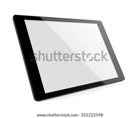 3d rendered tablet - perspective view - stock photo