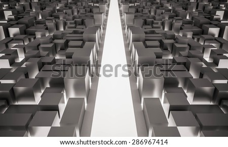 3d rendered, the light road straight ahead between city buildings - stock photo