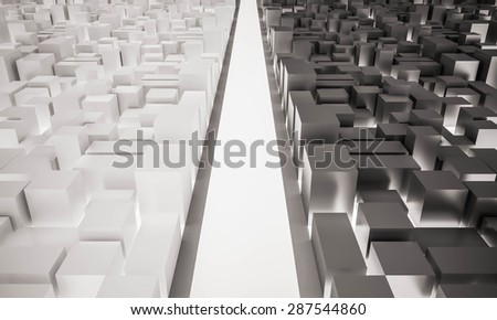 3d rendered, the light road straight ahead between two contrast cities of dark and light - stock photo