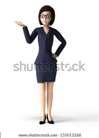 3d rendered toon character - business woman - stock photo