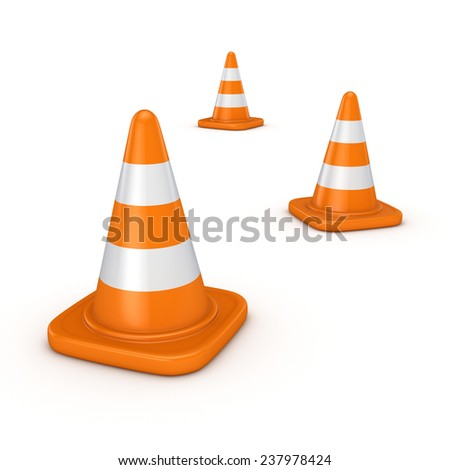 3d rendered traffic cones isolated on white background.