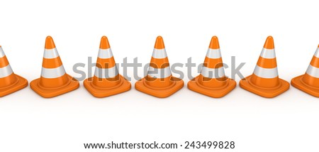 3d rendered traffic cones isolated on white background. - stock photo
