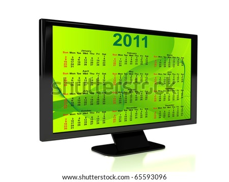 3d rendered TV with calendar. Computer generated image - stock photo