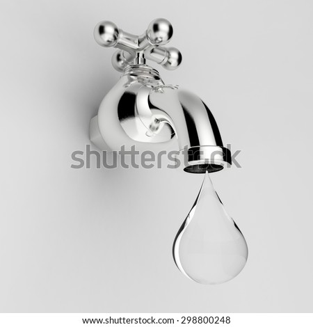 3d rendered water tap with water drop  - stock photo