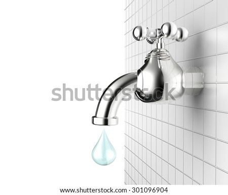 3d rendered water tap with water drop