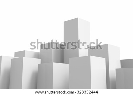 3d rendered white buildings on white background - stock photo