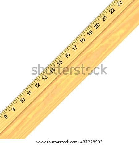 3D Rendered wooden school ruler perfect for an icon or clip art. Isolated on a white background.
