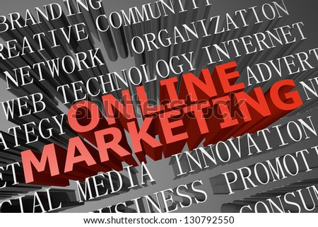 3D rendered word cloud of  online marketing concept