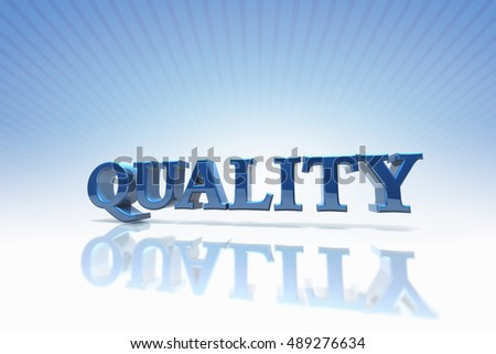 3D rendered word Quality with clipping Path