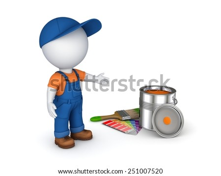 3d rendered worker in a uniform isolated on white. - stock photo