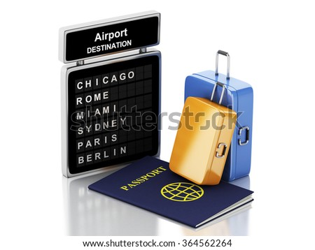 3d renderer illustration. Airport board, passport and travel suitcases. Travel concept. Isolated white background - stock photo