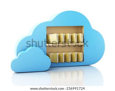 3d renderer illustration. File storage in cloud. Cloud computing concept. - stock photo