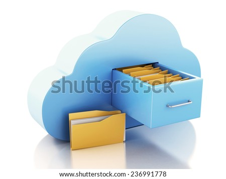 3d renderer illustration. File storage in cloud. Cloud computing concept on white bakcground - stock photo