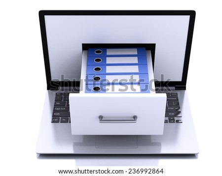 3d renderer illustration. Laptop pc with ring binders.  Data storage.  - stock photo