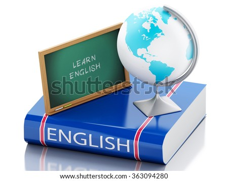 3d renderer illustration. Learn english. language learning and translate, education concept. Isolated white background - stock photo