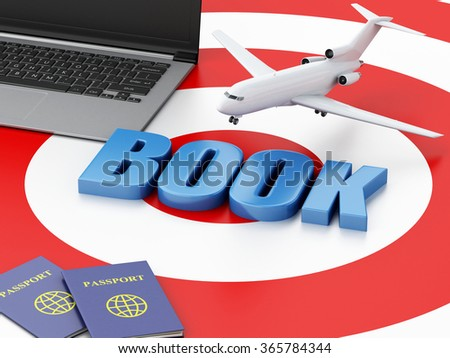 3d renderer illustration. Online booking concept. Laptop pc, passport and airplane on target. - stock photo