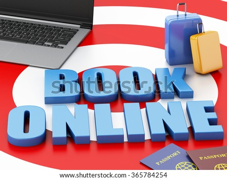 3d renderer illustration. Online booking concept. Laptop pc, passport and travel suitcase on target. - stock photo