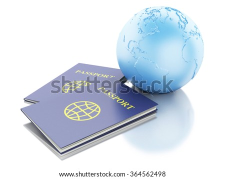 3d renderer illustration. Passport and Earth Globe. Travel and vacation Concept. Isolated white background - stock photo