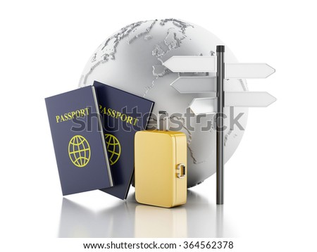 3d renderer illustration. Passport, earth globe and travel suitcases. Travel and vacation Concept. Isolated white background - stock photo