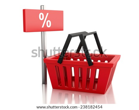 3d renderer illustration. Shopping basket with percent sign. discount  concept on white background - stock photo