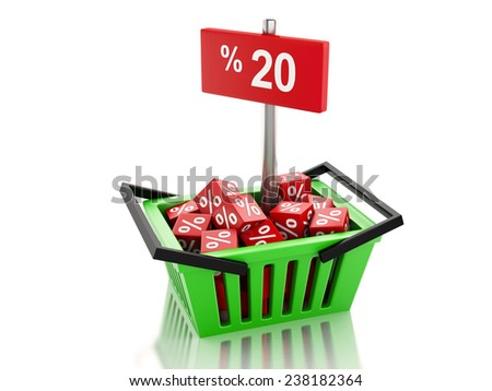 3d renderer illustration. Shopping basket with red cubes and 20 percent  on white background - stock photo