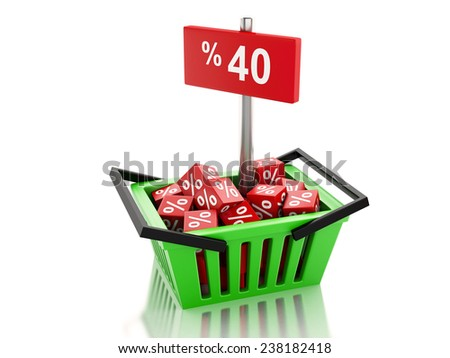 3d renderer illustration. Shopping basket with red cubes and 40 percent  on white background - stock photo