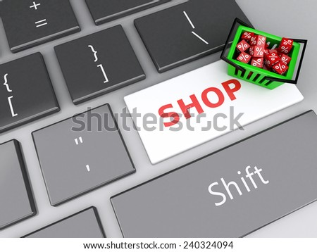 3d renderer illustration. Shopping basket  with red cubes on computer keyboard. Online shopping concept. - stock photo