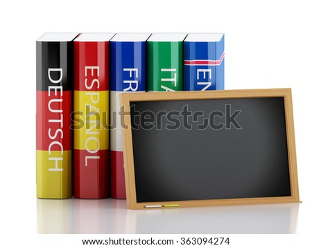 3d renderer illustration. Stack of dictionaries. Language learning and translate, education concept. Isolated white background
