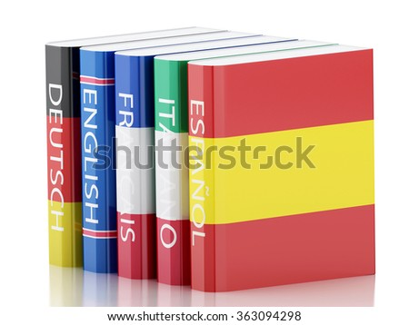 3d renderer illustration. Stack of dictionaries. Language learning and translate, education concept. Isolated white background - stock photo