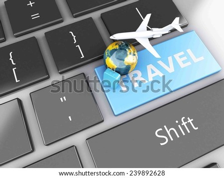 3d renderer illustration. travel suitcase, airplane and earth on computer keyboard. Travel concept - stock photo