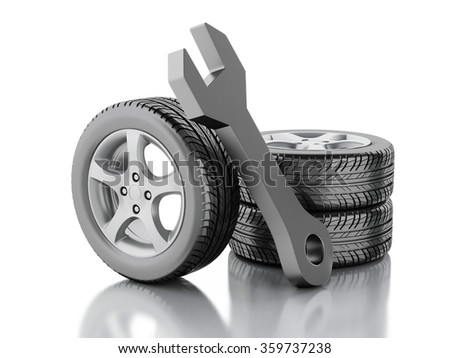 3d renderer illustration. Wheel cars and wrench. Service concept. Isolated white background. - stock photo