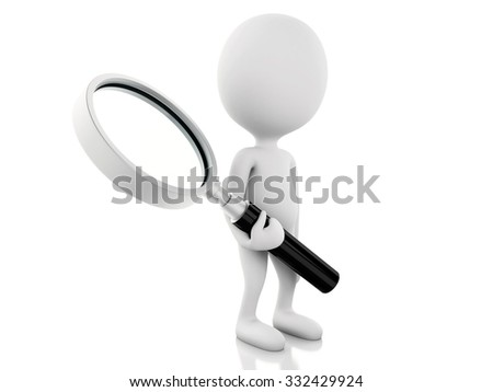 3d renderer illustration. White people examines through a magnifying glass. Isolated white background