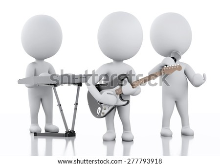 3d renderer illustration. White people. Music group. Isolated white background