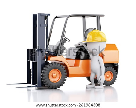 3d renderer illustration. White people with a forklift truck. Isolated white background - stock photo