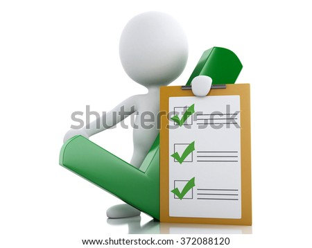 3d renderer illustration. White people with clipboard checklist. Success concept. Isolated white background