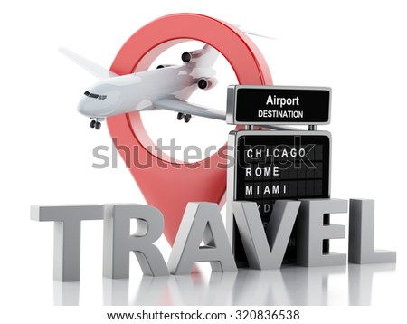 3d renderer image. Airport board and airport pointer. Airline travel concept. Isolated white background - stock photo