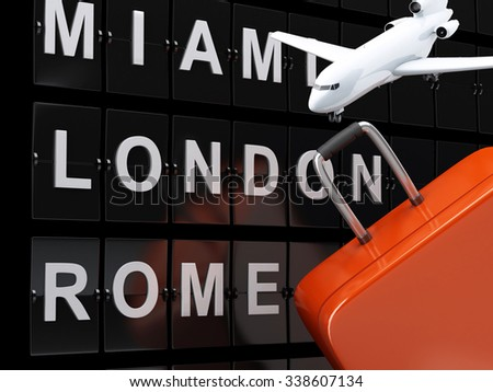 3d renderer image. Airport board, travel suitcases and airplane. Airline travel concept.  - stock photo