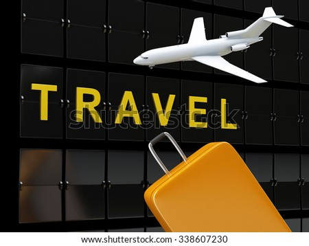 3d renderer image. Airport board, travel suitcases and airplane. Travel concept. - stock photo