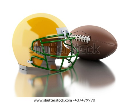 3d renderer image. American football helmet and ball. Sport concept. Isolated white background.