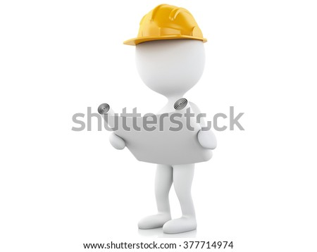3d renderer image. Architect people with helmet and drawing. Construction concept. Isolated white background - stock photo