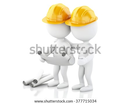3d renderer image. Architect people with helmet and drawings. Construction concept. Isolated white background - stock photo